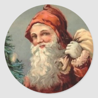Vintage Santa Toy Bag Christmas Stickers