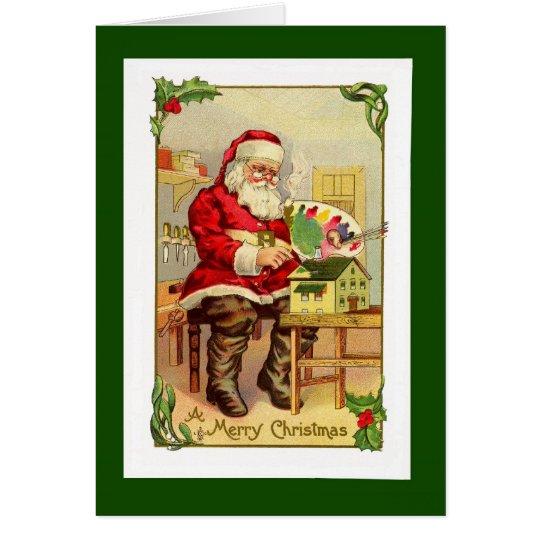 Vintage Santa Toymaker Card