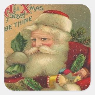 Vintage Santa Toys Christmas Square Stickers