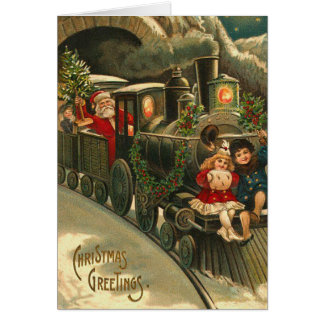 Vintage Santa Train Christmas Card