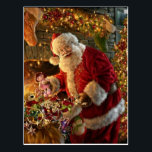 """Vintage Santa Under Gold Lights Fireplace Postcard<br><div class=""""desc"""">This is an old postcard brought back to life via the magic of Zazzle. Make the image smaller and add a border.</div>"""