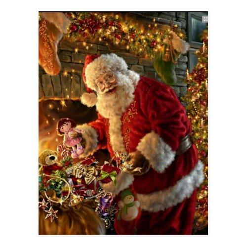 Vintage Santa Under Gold Lights Fireplace Postcard
