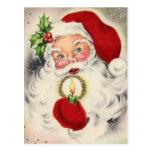Vintage Santa w/candle Tarjeta Postal