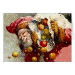 Vintage Santa w/ Sack of Apples Apple Antique Greeting Cards