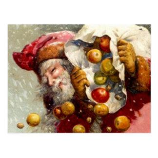 Vintage Santa w/ Sack of Apples Apple Antique Postcard
