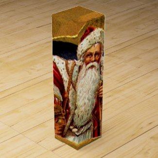 Vintage Santa Wine Box