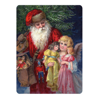 Vintage Santa with Angel and Toys Card
