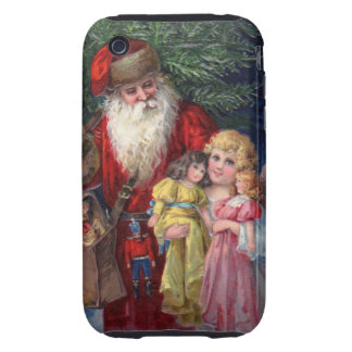 Vintage Santa with Angel and Toys Tough iPhone 3 Case