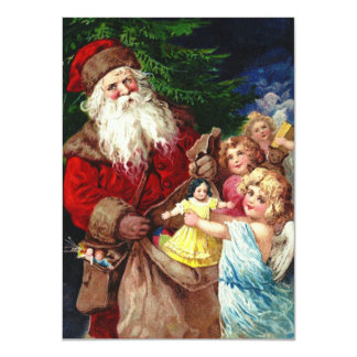 Vintage Santa with Angels Personalized Announcements