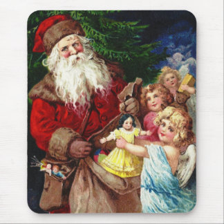 Vintage Santa with Angels Mouse Pad