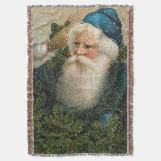 Vintage Santa with Blue Cap Throw
