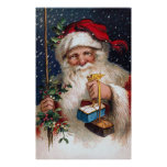 Vintage Santa with Cakes Poster