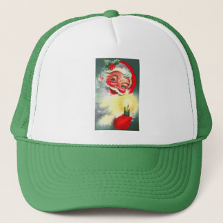 Vintage Santa with Candle Trucker Hat