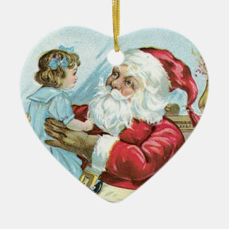 Vintage Santa with Child - heart Double-Sided Heart Ceramic Christmas Ornament