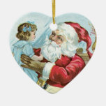 Vintage Santa with Child - heart Ornaments