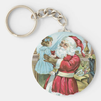 Vintage Santa with Child Keychain