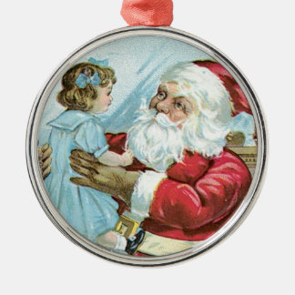 Vintage Santa with Child Round Metal Christmas Ornament