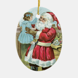 Vintage Santa with Child - oval Double-Sided Oval Ceramic Christmas Ornament