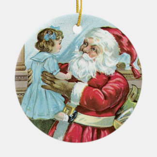 Vintage Santa with Child - round Double-Sided Ceramic Round Christmas Ornament