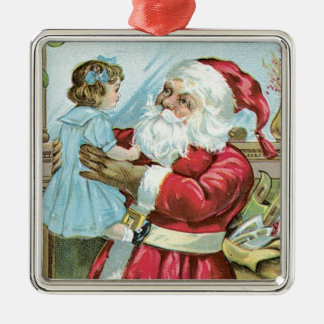 Vintage Santa with Child - square Square Metal Christmas Ornament