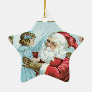 Vintage Santa with Child - star Double-Sided Star Ceramic Christmas Ornament