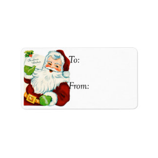 Vintage Santa With Christmas Wishes Gift Tag Address Label