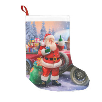 Vintage Santa with classic car Small Christmas Stocking