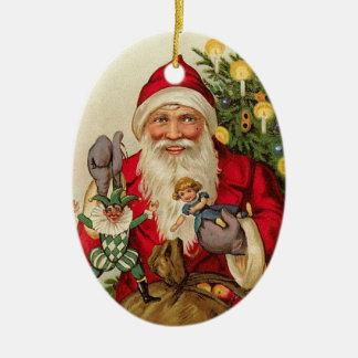 Vintage Santa with Doll and Joker Ceramic Ornament