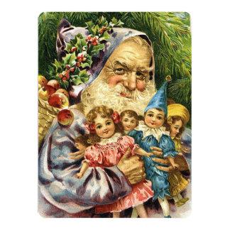 Vintage Santa with Dolls Card