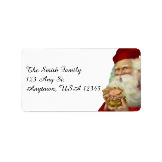 Vintage Santa with Gift Label