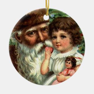 Vintage Santa with Girl Keepsake Ornament