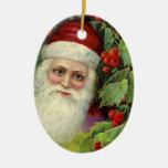 Vintage Santa with Holly Berries Keepsake Christmas Tree Ornament