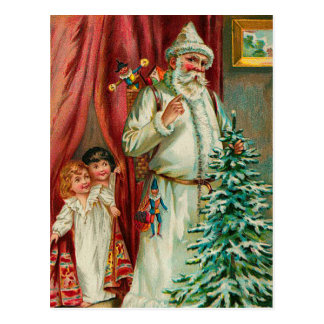Vintage Santa With Kids Postcard