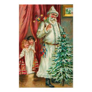 Vintage Santa With Kids Stationery