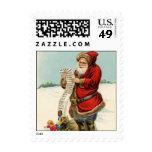 Vintage Santa with List Stamp
