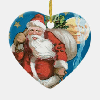 Vintage Santa with Moon - heart Double-Sided Heart Ceramic Christmas Ornament
