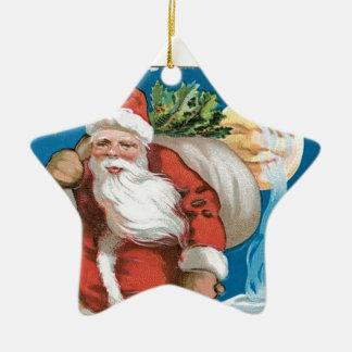 Vintage Santa with Moon Double-Sided Star Ceramic Christmas Ornament