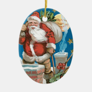 Vintage Santa with Moon Double-Sided Oval Ceramic Christmas Ornament