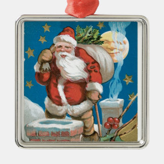 Vintage Santa with Moon Square Metal Christmas Ornament