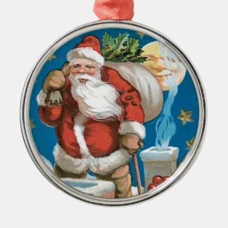 Vintage Santa with Moon Round Metal Christmas Ornament