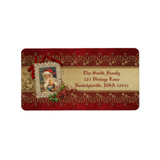 Vintage Santa with Poinsettia and Gold Lace Address Label