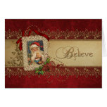 Vintage Santa with Poinsettias and Gold Lace Greeting Card