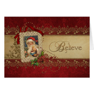 Vintage Santa with Poinsettias and Gold Lace Cards