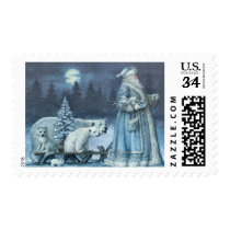 Vintage Santa With Polar Bears Postage