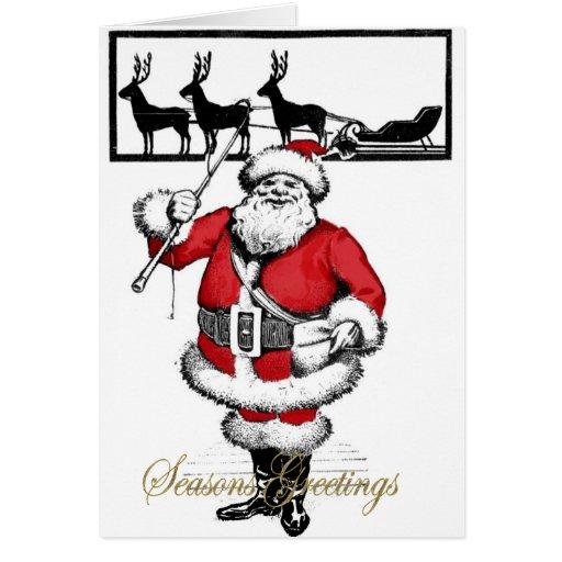 Vintage Santa with Reindeer Greeting Cards