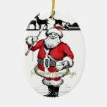Vintage Santa with Reindeer Ornament