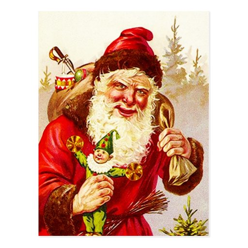 Vintage Santa with Sack toy woodland Forest rustic Post Card
