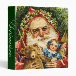 Vintage Santa with Teddy and Dolls 3 Ring Binder