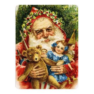 Vintage Santa with Teddy and Dolls Card