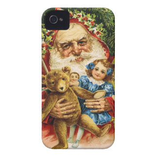 Vintage Santa with Teddy and Dolls iPhone 4 Case-Mate Cases